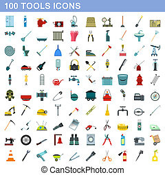 plat, stijl, iconen, set, honderd, gereedschap