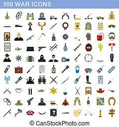 plat, stijl, iconen, set, honderd, oorlog