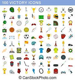 plat, stijl, iconen, set, overwinning, honderd