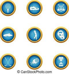 plat, stijl, iconen, set, sportende, eer