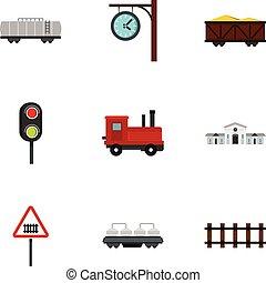 plat, stijl, iconen, set, station, spoorweg