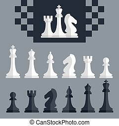 plat, stijl, iconen, set, stukken, vector, schaakspel