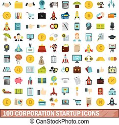plat, stijl, iconen, set, vakvereniging, start, honderd