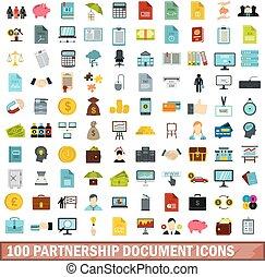 plat, stijl, iconen, set, vennootschap, honderd, document