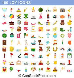 plat, stijl, iconen, set, vreugde, honderd