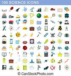 plat, stijl, iconen, set, wetenschap, honderd
