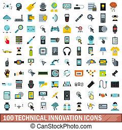 plat, stijl, iconen, technisch, set, innovatie, honderd