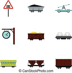 plat, stijl, iconen, trein, set, , spoorweg
