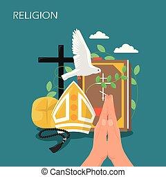plat, stijl, illustratie, christendom, religie, vector, ontwerp