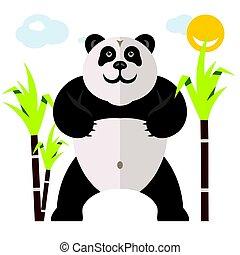 plat, stijl, illustration., kleurrijke, spotprent, panda, vector, bamboo.