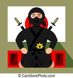 plat, stijl, illustration., kleurrijke, vector, ninja,...