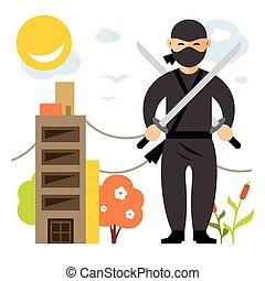 plat, stijl, illustration., kleurrijke, vector, ninja.,...