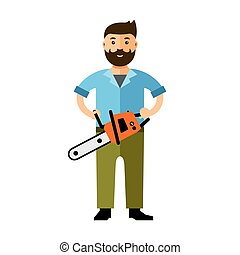 plat, stijl, illustration., kleurrijke, woodcutter., vector,...