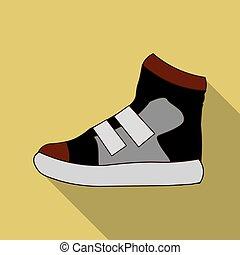 plat, stijl, illustration., pictogram, symbool, vrijstaand, achtergrond., vector, gymschoen, witte , liggen, schoentjes