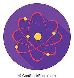 plat, stijl, illustration., symbool, school, vrijstaand, achtergrond., vector, atoom, witte , pictogram, liggen