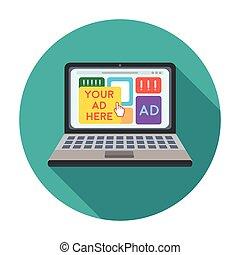 plat, stijl, illustration., symbool, vrijstaand, achtergrond., vector, reclame, online, witte , pictogram, liggen