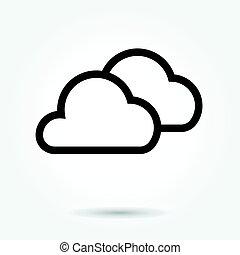 plat, stijl, illustration., vector, ontwerp, achtergrond, pictogram, witte wolk