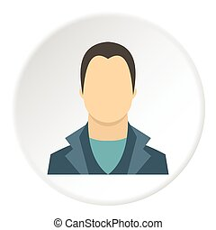 plat, stijl, jonge, avatar, pictogram, man