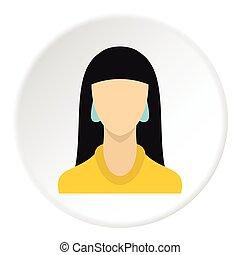 plat, stijl, jonge, haar, avatar, pictogram, meisje