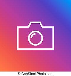 plat, stijl, jouw, kleurrijke, web, symbool, bouwterrein, vrijstaand, achtergrond., fototoestel, modieus, ui., ontwerp, app, logo, pictogram