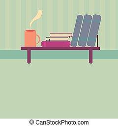 plat, stijl, kop, thee, boekjes , boekenplank