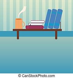 plat, stijl, kop, thee, warme, boekjes , boekenplank