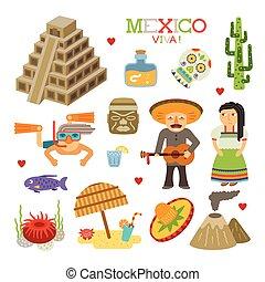 plat, stijl, kunst, mexico, reizen, vector, toerisme