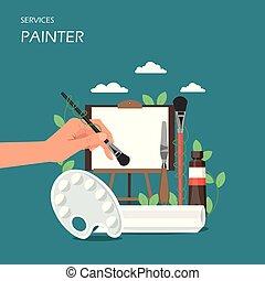 plat, stijl, kunstenaar, illustratie, vector, ontwerp, diensten, schilder