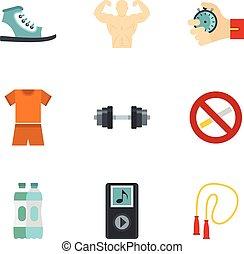 plat, stijl, levensstijl, iconen, gezonde , set