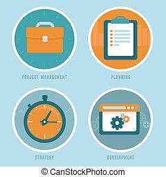 plat, stijl, management, plan, vector, concepten
