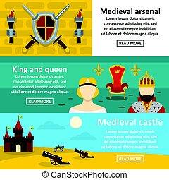 plat, stijl, middeleeuws, set, symbolen, horizontaal, spandoek