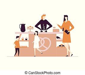 plat, stijl, moderne, -, illustratie, bakkerij, vector, ontwerp