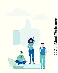 plat, stijl, networking, kleurrijke, -, illustratie, ontwerp, sociaal
