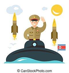 plat, stijl, noorden, illustration., kleurrijke, duikboot, vector, korea., spotprent