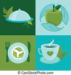 plat, stijl, organisch voedsel, vector, concepten