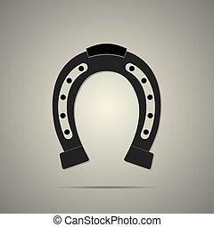 plat, stijl, paardenhoef, pictogram