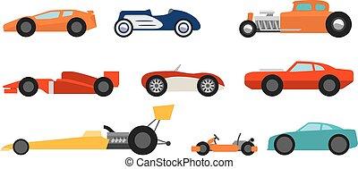 plat, stijl, racen auto's, set