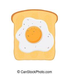 plat, stijl, roosteren, bread., ei, gebraden, bakt, spotprent