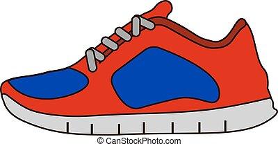 plat, stijl, schoentjes, symbool, vrijstaand, achtergrond., vector, gymschoen, witte , pictogram, liggen