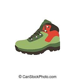 plat, stijl, schoentjes, wandelende, berg, symbool, laars, vrijstaand, illustratie, achtergrond., vector, schoeisel, stock., witte , pictogram