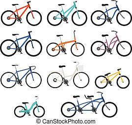 plat, stijl, set, bicycles, differnt, types