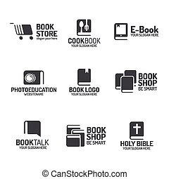 plat, stijl, set, boek, black , logo