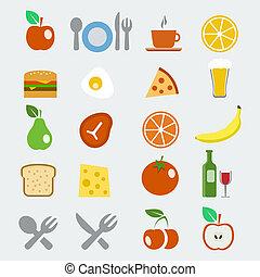 plat, stijl, set, iconen, voedingsmiddelen, vector