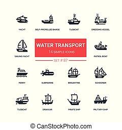 plat, stijl, set, iconen, -, water, ontwerp, vervoeren
