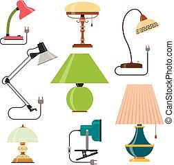plat, stijl, set, iconen, woning, light., vrijstaand, vector, ontwerp, achtergrond, thuis, witte , lamps., communie