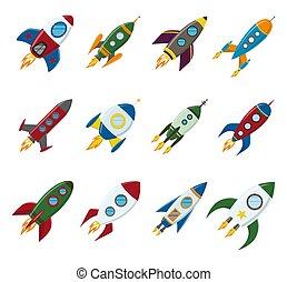 plat, stijl, set, raket, ruimte, vector, retro, scheeps , ...