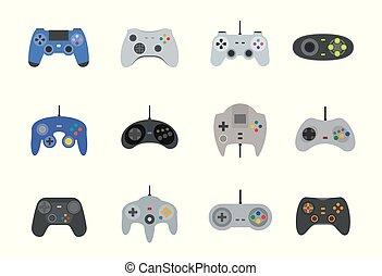plat, stijl, set, vector, gamepads, pictogram