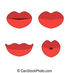 plat, stijl, set, vrijstaand, achtergrond., lippen, communie, ontwerp, wit rood
