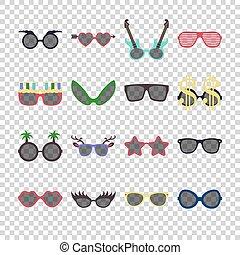 plat, stijl, set, zonnebrillen, kleurrijke, eps10.,...