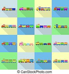 plat, stijl, speelbal, iconen, set, trein, kinderen
